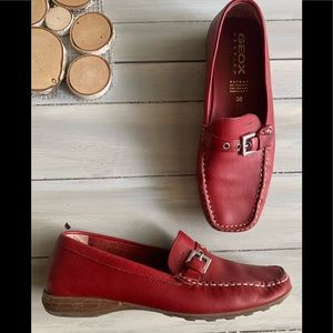 Geox Respire Red Leather Mocassins